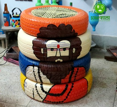 Tyres used to make furniture