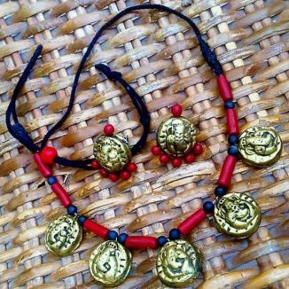 Vinayaka Red Rusty Gold Necklace