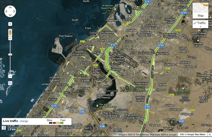 UAE road traffic live on Google Map,Google Maps UAE live traffic Real Time Traffic Map on