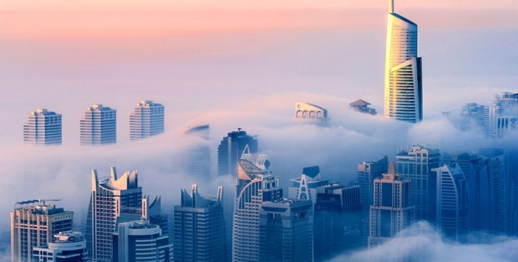 Pictures of Fog in Dubai from sky