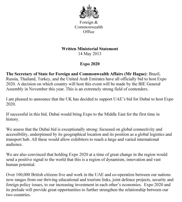 dubai expo 2020-uk support letter