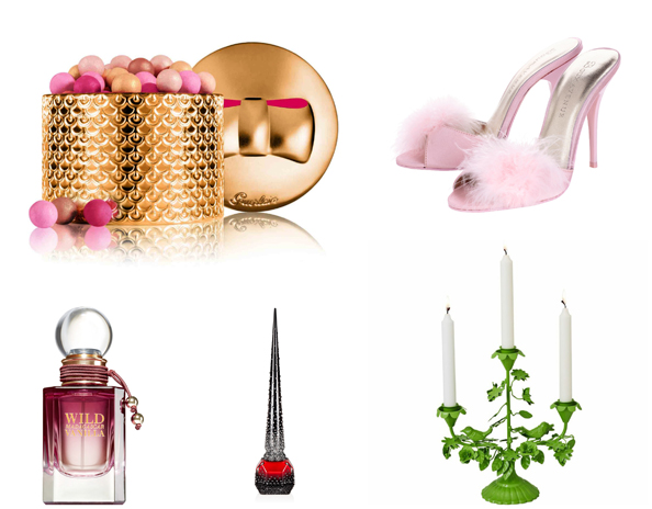 Clockwise: Strass crystal-embellished nail varnish in Starlight Edition Dhs3,320, Wild Madagascar Vanilla Perfume Dhs180 Bath & Body Works, Météorites Perles d'Etoile Dhs264 Guerlain, Mules Dhs239 Boux Avenue,  Candelabra Dhs395 RICE at Valleydez