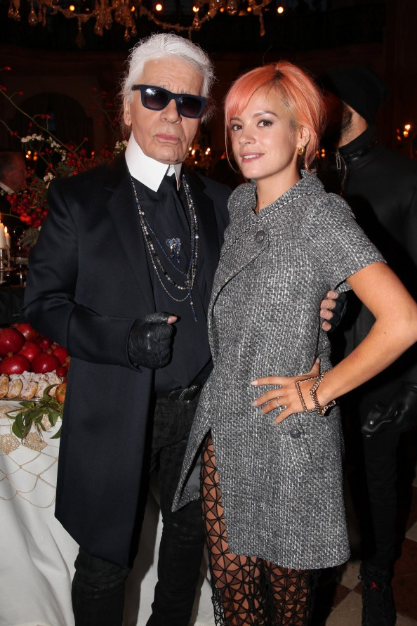 Karl Lagerfeld with Lilly Allen at the Chanel Metiers d'Art Collection in Salzburg