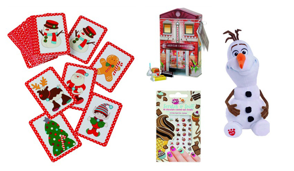L-R: Christmas snap cards Dhs12 Early Learning Centre, The Dubai Mall, Candy Store tin Dhs65 Hershey's Chocolate World, The Dubai Mall, Olaf from Disney's Frozen stuffed toy Dhs120 Build–a-Bear, The Dubai Mall, Chocolate scratch & sniff nail stickers Dhs16.56 NPW at alexandalexa.com