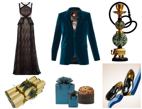 Clockwise: Crackers Dhs230 for 6 liberty.co.uk; Gown Dhs2,000 BCBGMAXAZRIA; Blazer Dhs5,970 Alexander McQueen at matchesfashion.com; Airdiem Green and 18ct gold-plated shisha pipe Dhs37,533 Quintessentially Gifts;  Loafers Dhs4,050 Louis Vuitton; panettone Dhs150 Armani/Dolci at Armani Caffe;