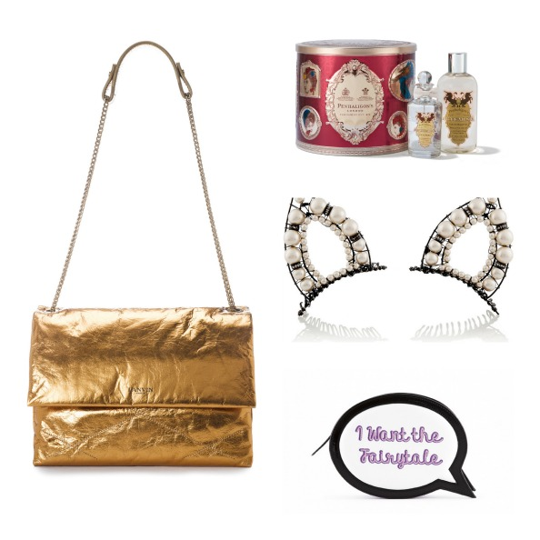 Clockwise: Gold handbag POA Lanvin, Ladies' fragrance collection Dhs280 Penhaligon's; Headband Dhs2,370 Erickson Beamon at net-a-porter.com; Clutch Dhs1,954 Sophia Webster