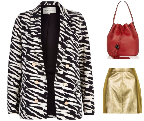 Clockwise: Blazer Dhs375 River Island; Bag Dhs7,676 Gucci at net-a-porter.com; Skirt Dhs219 Topshop