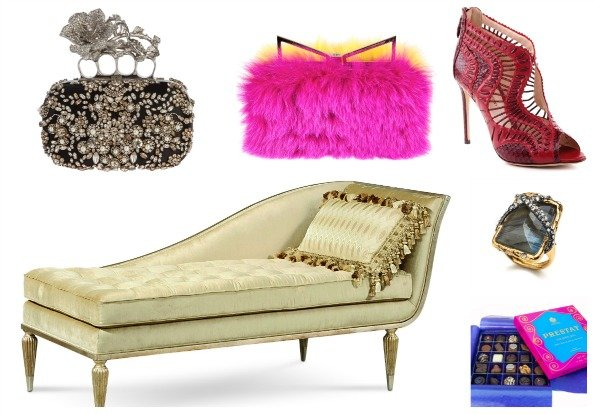 Clockwise:  Chaise longue Dhs6,300 Caracole at Harvey Nichols-Dubai;   Clutch Dhs18,100 Alexander McQueen; Clutch Dhs9,500 Sara Battaglia at Harvey Nichols-Dubai; Shoes Dhs3,050 Alexandre Birman; Ring Dhs825 Alexis Bittar at Harvey Nichols-Dubai; Chocolates Dhs335 Prestat at Harvey Nichols-Dubai