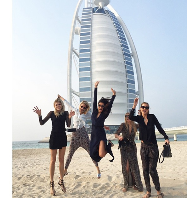 Shay Mitchell posted a classic Burj Al Arab shot from the beach.