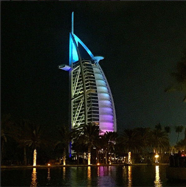 Shay Mitchell captures the beautiful view of the Burj Al Arab at night.