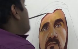 This Determined Artist Used His Mouth To Paint A Beautiful Portrait Of Sheikh Mohammed