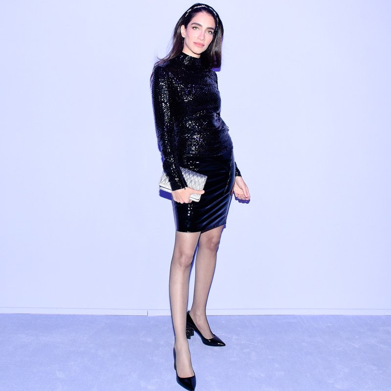 Jessica Kahawaty wears TOM FORD at the TOM FORD F/W18 fashion show at the Park Avenue Armory in New York City on February 8th, 2018.