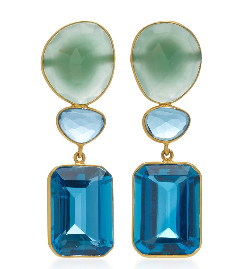 Bahina 18K Gold, Agate And Blue Topaz Earrings