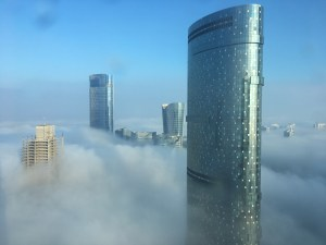 View of Abu Dhabi Reem Islam in the clouds