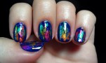 OPI...Eurso Euro and Rainbow Foil Inspired by Dichroic Glass Earrings