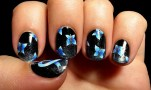 Thyroid Disease Awareness Month Nail Art with Blue Butterflies