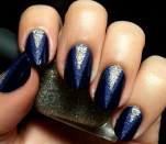 Blue Textured Triangles Nail Art