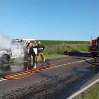 Un camioneta sufrió un incendio en Ruta 11