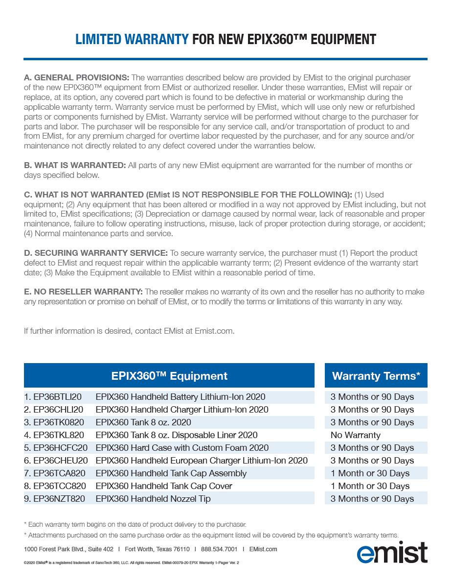 EPIX360 Warranty PDF image thumbnail