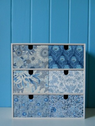 Librty fabric covered drawers by A Cuppa and a Catch Up