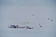 SALSA camp at Subglacial Lake Mercer viewed from our flight in the Basler.