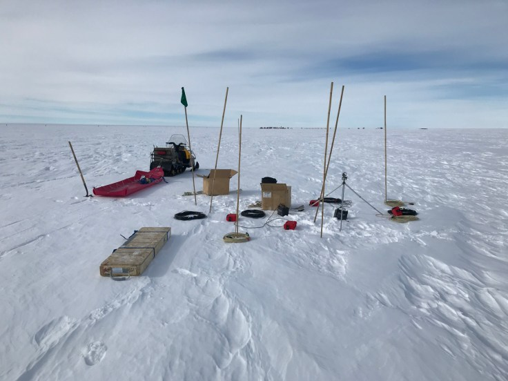 MT station at Subglacial Lake Mercer that Kerry installed next to the SALSA camp while the rest of the team was servicing a nearby GPS station. This solo install only took 1.5 hours, but that was after 6 weeks of practice!