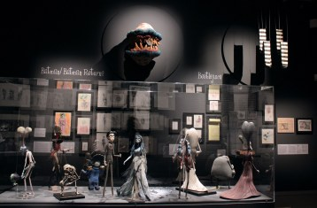 """A general view shows an exhibition dedicated to the work of US director Tim Burton, on March 5, 2012 at the Cinematheque in Paris. Set up by New York's MoMa museum in 2009, the show entitled """"Tim Burton"""" takes a journey through the director's inner world, via some 500 sketches dating back to his childhood, as well as photos, models, props and film clips. AFP PHOTO MARINA HELLI"""