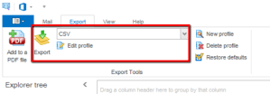 Screen shot showing CSV selected a export format.