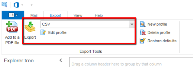 Screen shot showing CSV selected a export format.
