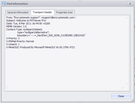 Eml file transport header.