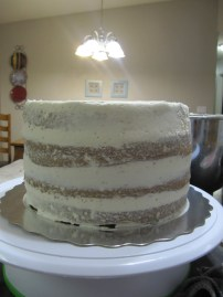 Working on filling and icing the cake...