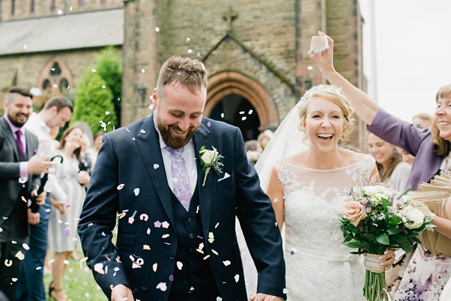 confetti at a wedding at St Andrew's in Longton