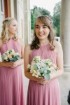 bridesmaid in pleated dress