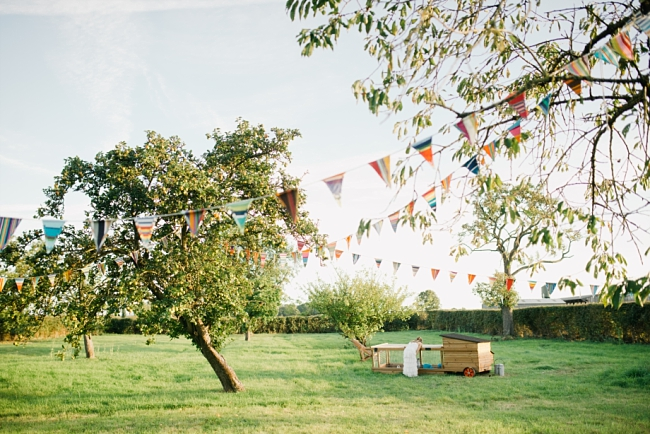 bunting at garden wedding