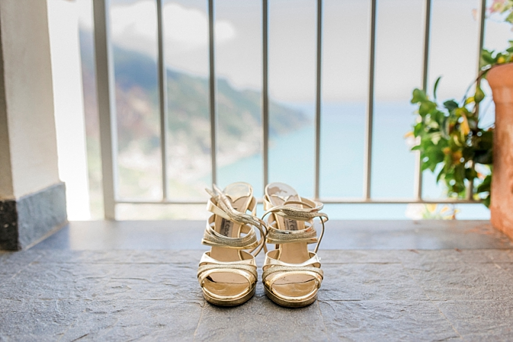 wedding shoes with amalfi coast backdrop