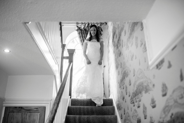 bride down stairs