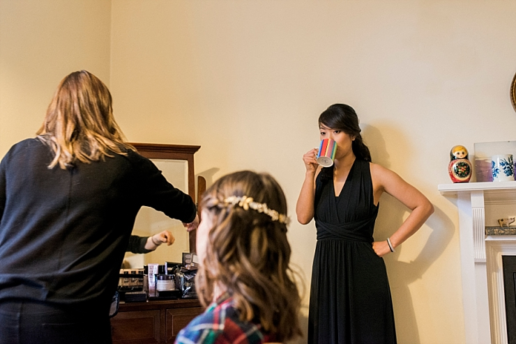 bridesmaid drinking tea