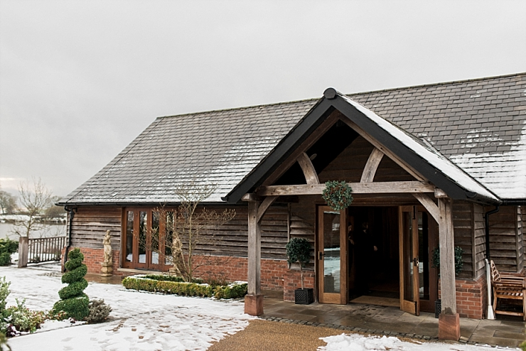 sandhole oak barn in snow