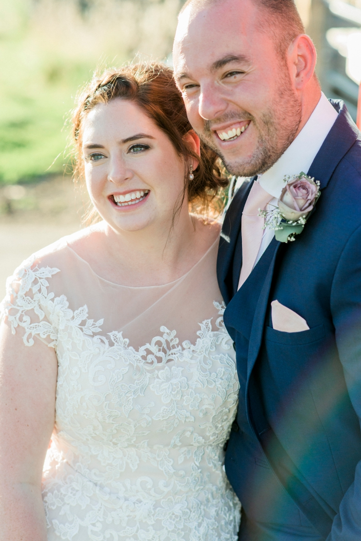 bride and groom in sunshine