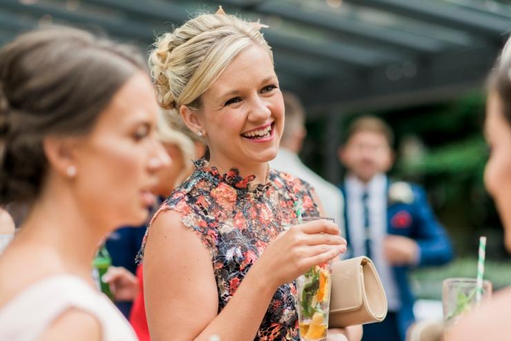wedding guest mingling