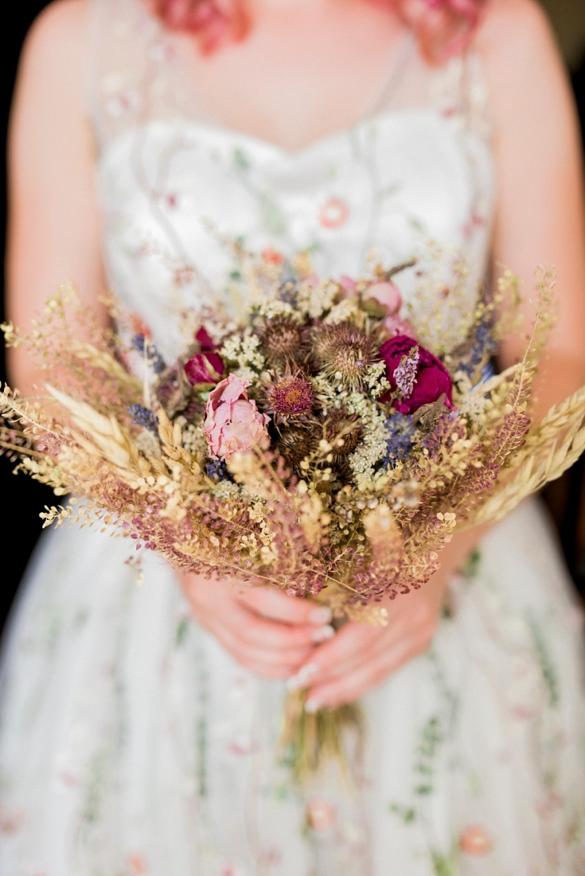 dried floral bouquet with pinks and purples