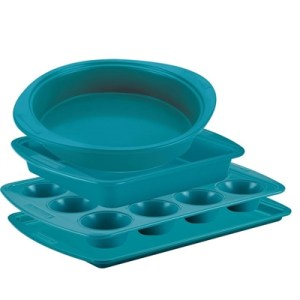 Silverstone 4 Piece Bakeware Set: Muffin, Cookie, Round & Square Cake Pans Teal