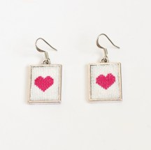 PinkHeartXStitchEarrings