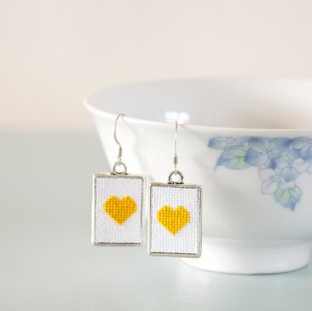 YellowHeartEarrings