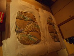 Our futons all made up and ready to sleep in