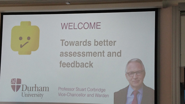 The welcome slide - featuring the VC of Durham and a Lego head.