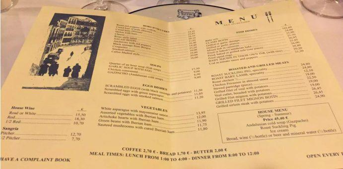 Restaurante Botin Guinness Book of records Madrid Birthday Menu Oldest
