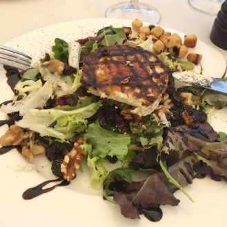 Madrid Sunshine Plaza Mayor Walking Birthday Goats Cheese Balsamic Walnuts Raisin Salad El Soportal Lunch