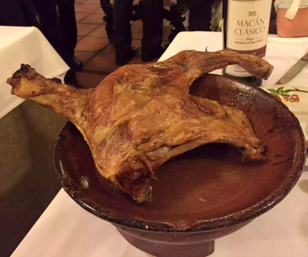 Posada de la Villa Madrid Dinner Restaurant Cava Baja Roast Lamb Speciality