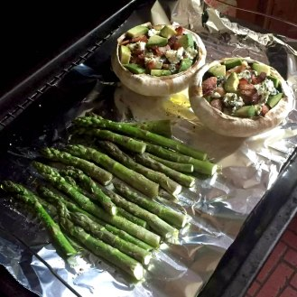 Stuffed Mushrooms Portobello Bacon St Augur Blue Cheese Avocado Walnuts Asparagus Recipe